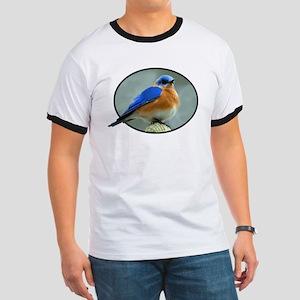 Bluebird in Oval Frame Ringer T