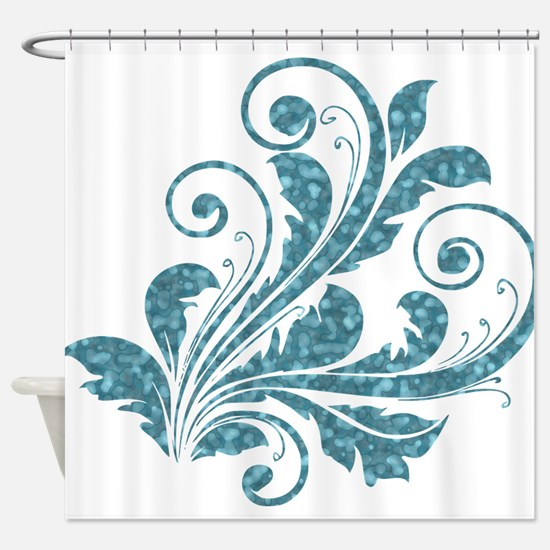 Blue Artistic Floral Shower Curtain