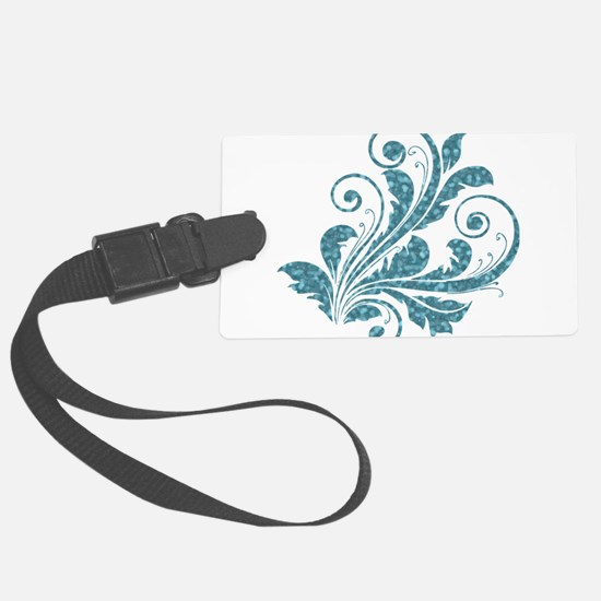 Blue Artistic Floral Luggage Tag