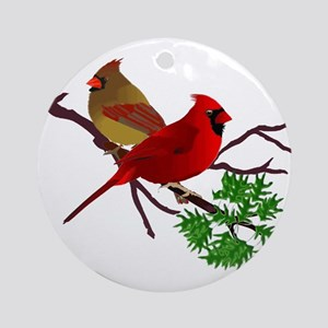 Cardinal Couple on a Branch Ornament (Round)