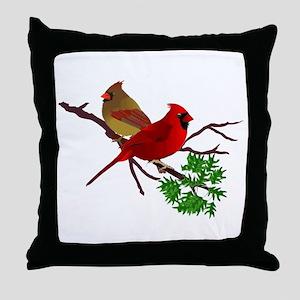 Cardinal Couple on a Branch Throw Pillow