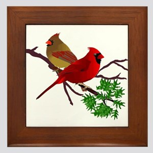 Cardinal Couple on a Branch Framed Tile