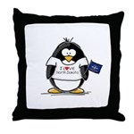 North Dakota Penguin Throw Pillow