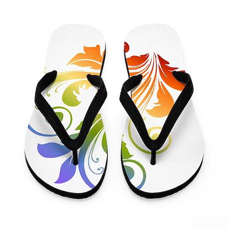 Rainbow Floral Flip Flops