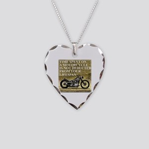 Time Spent On A Motorcycle Necklace Heart Charm