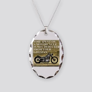 Time Spent On A Motorcycle Necklace Oval Charm