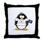 New Hampshire Penguin Throw Pillow