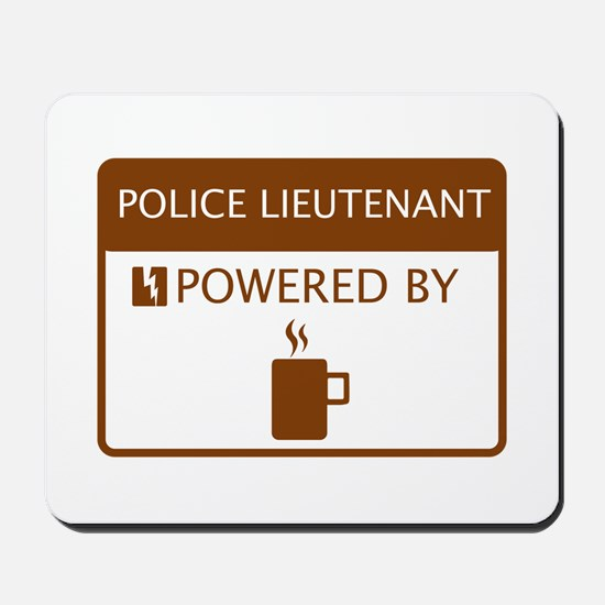 Police Lieutenant Powered by Coffee Mousepad