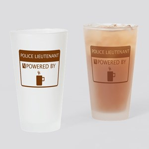 Police Lieutenant Powered by Coffee Drinking Glass