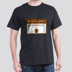 Police Lieutenant Powered by Coffee Dark T-Shirt