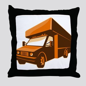 moving truck delivery van retro Throw Pillow