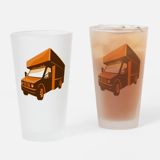 moving truck delivery van retro Drinking Glass