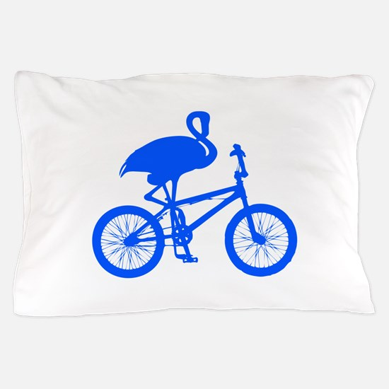 Blue Flamingo on Bicycle Pillow Case