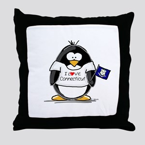 Connecticut Penguin Throw Pillow