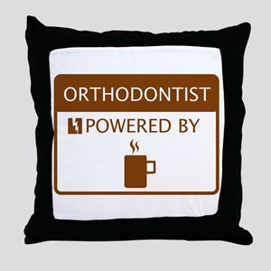 Orthodontist Powered by Coffee Throw Pillow