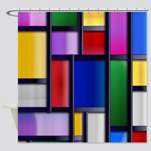 Cute Abstract Colorful rectangle pattern Shower Cu