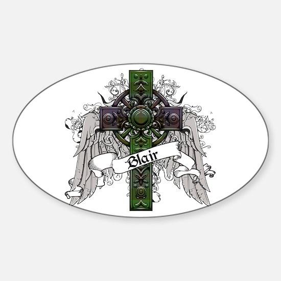 Blair Tartan Cross Sticker (Oval)