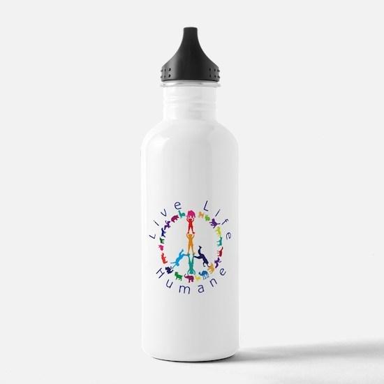 Live Life Humane Logo Water Bottle