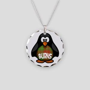 Burns Tartan Penguin Necklace Circle Charm
