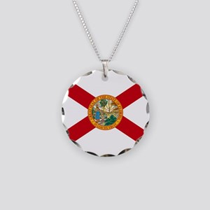 Florida State Flag Necklace Circle Charm