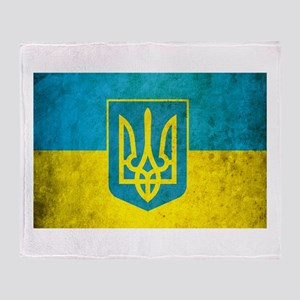 Vintage Ukraine Flag Throw Blanket