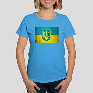 Vintage Ukraine Flag Women's Dark T-Shirt
