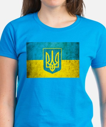 Vintage Ukraine Flag Women's Dark T-Shirt