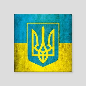 "Vintage Ukraine Flag Square Sticker 3"" x 3"""