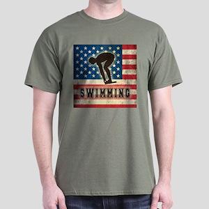 Grunge USA Swimming Dark T-Shirt