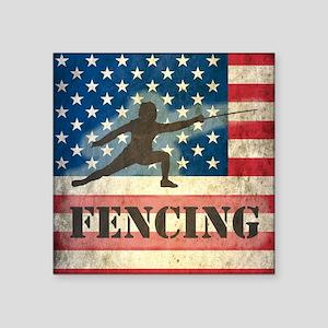 "Grunge USA Fencing Square Sticker 3"" x 3"""
