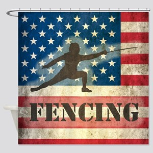 Grunge USA Fencing Shower Curtain