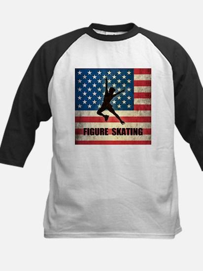 Grunge USA Figure Skating Kids Baseball Jersey