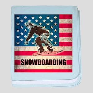 Grunge USA Snowboarding baby blanket