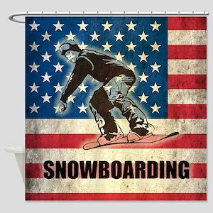 Grunge USA Snowboarding Shower Curtain