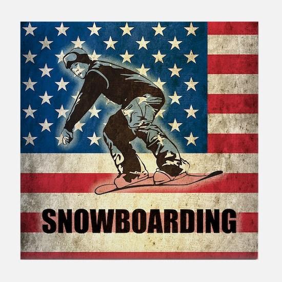 Grunge USA Snowboarding Tile Coaster