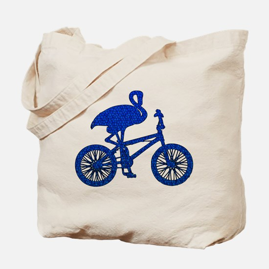 Blue Flamingo on Bicycle Mosaic Tote Bag
