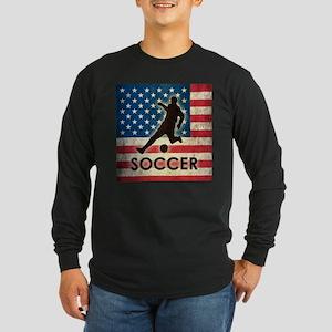Grunge USA Soccer Long Sleeve Dark T-Shirt