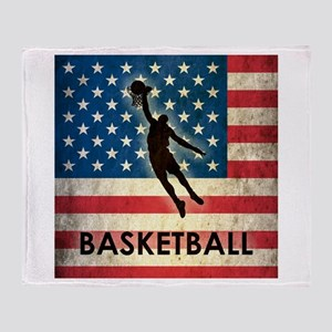 Grunge USA Basketball Throw Blanket