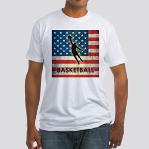 Grunge USA Basketball Fitted T-Shirt