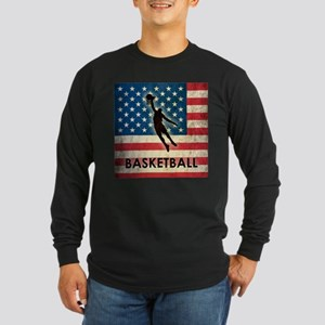 Grunge USA Basketball Long Sleeve Dark T-Shirt