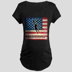 Grunge USA Basketball Maternity Dark T-Shirt