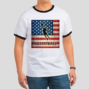Grunge USA Basketball Ringer T