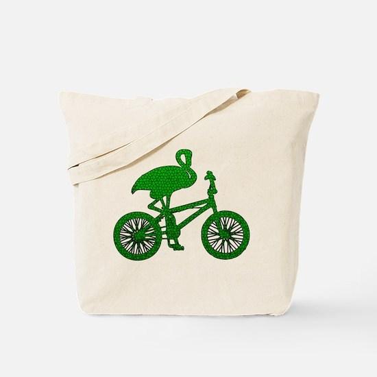 Green Flamingo on Bicycle Mosaic Tote Bag