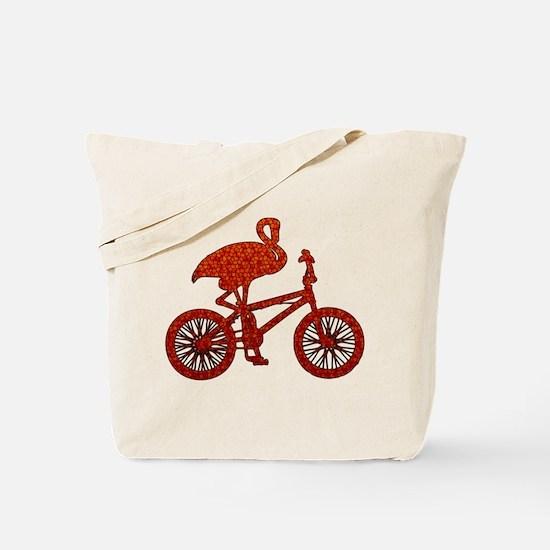 Red Flamingo on Bicycle Mosaic Tote Bag