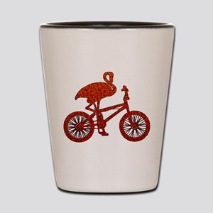 Red Flamingo on Bicycle Mosaic Shot Glass