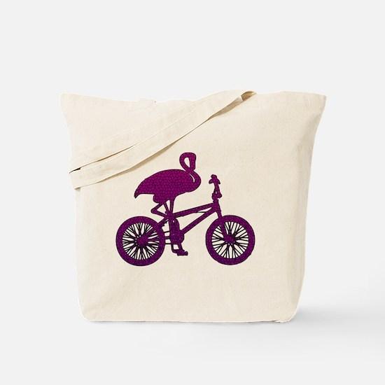 Purple Flamingo on Bicycle Mosaic Tote Bag