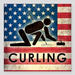 "Grunge USA Curling Square Car Magnet 3"" x 3"""
