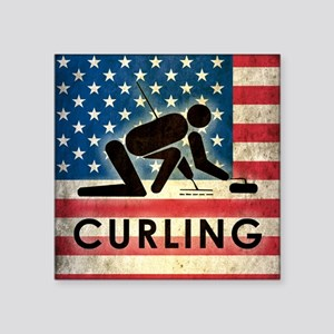 "Grunge USA Curling Square Sticker 3"" x 3"""