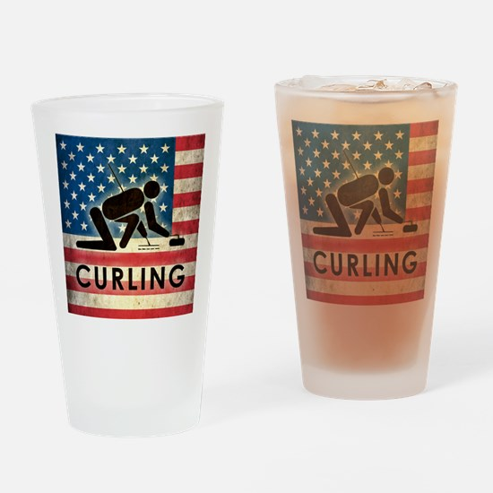 Grunge USA Curling Drinking Glass