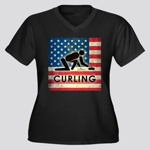 Grunge USA Curling Women's Plus Size V-Neck Dark T